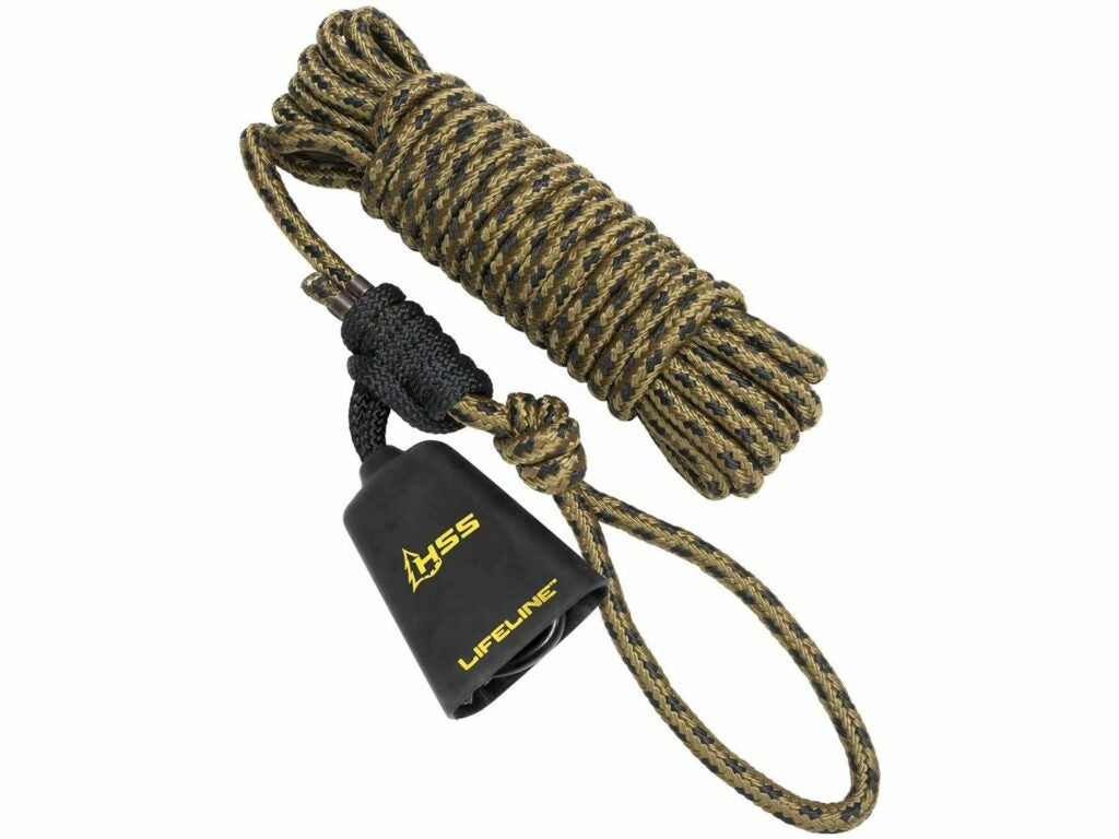 A coil of Hunter Safety System Lifeline rope on a white background.