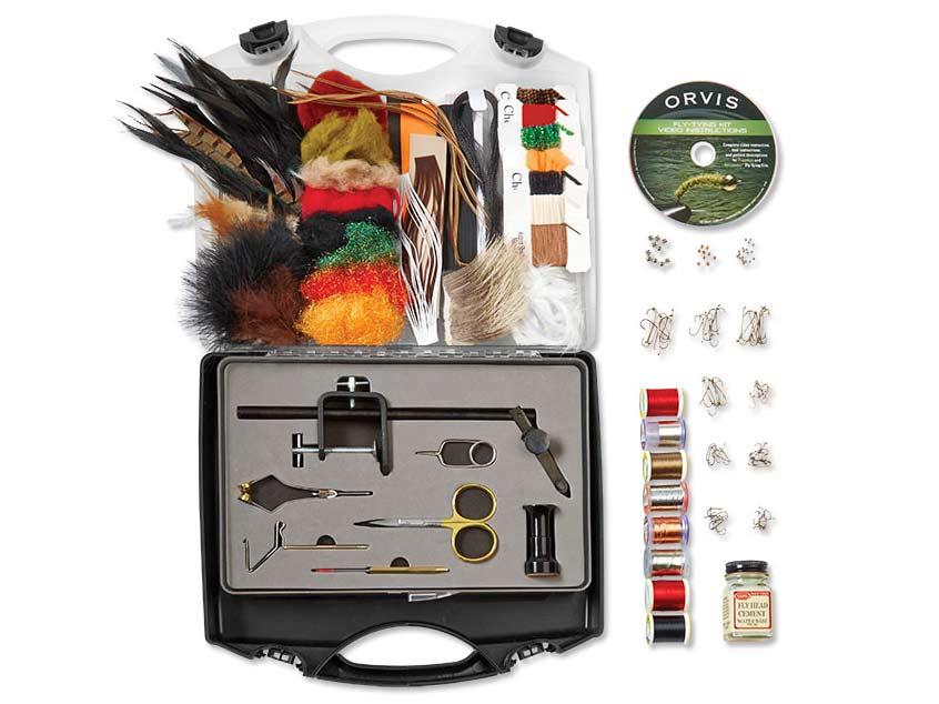 A full kit of fly fishing gear.
