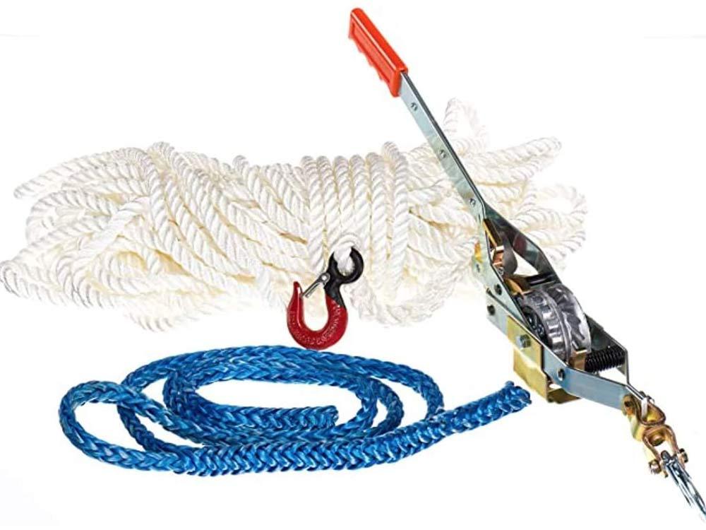 Maasdam Rope Puller Kit- with 50' Rope, Spliced Hook and Loopie Sling