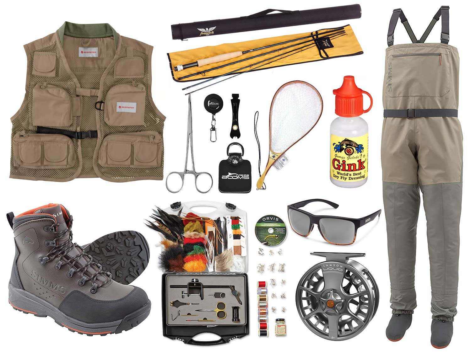 A collage of fly fishing gear on a white background.