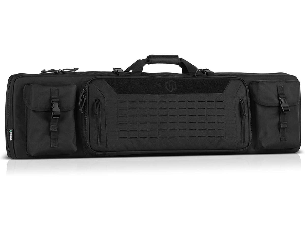 Savior Equipment Urban Warfare Tactical Double Carbine Long Rifle Bag Gun Case Firearm Backpack Pistol Handgun Case - Lockable Zipper, Padded Side Carry Strap, Available Length in 36