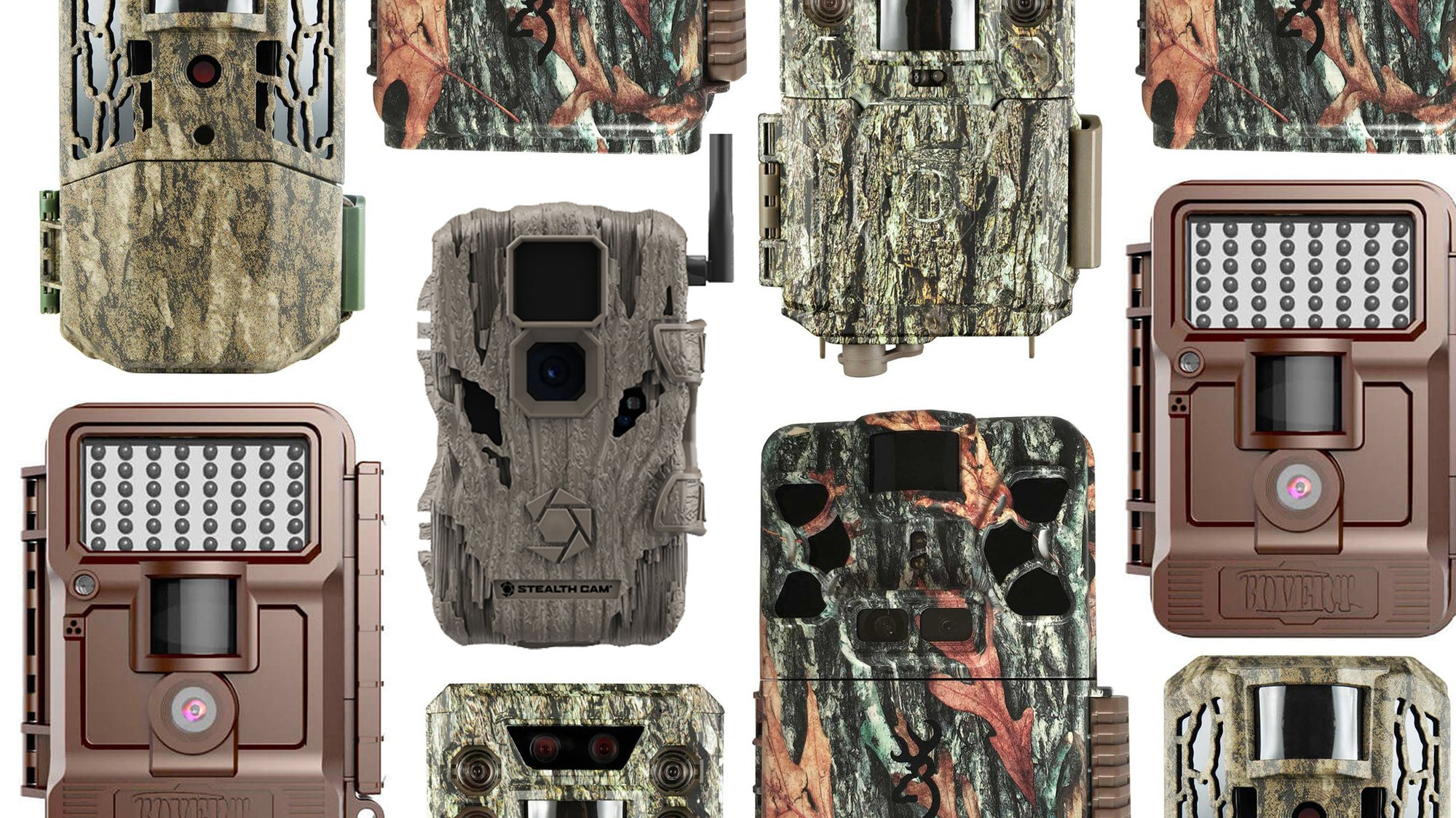 Collage of the best trail cameras on a white background.