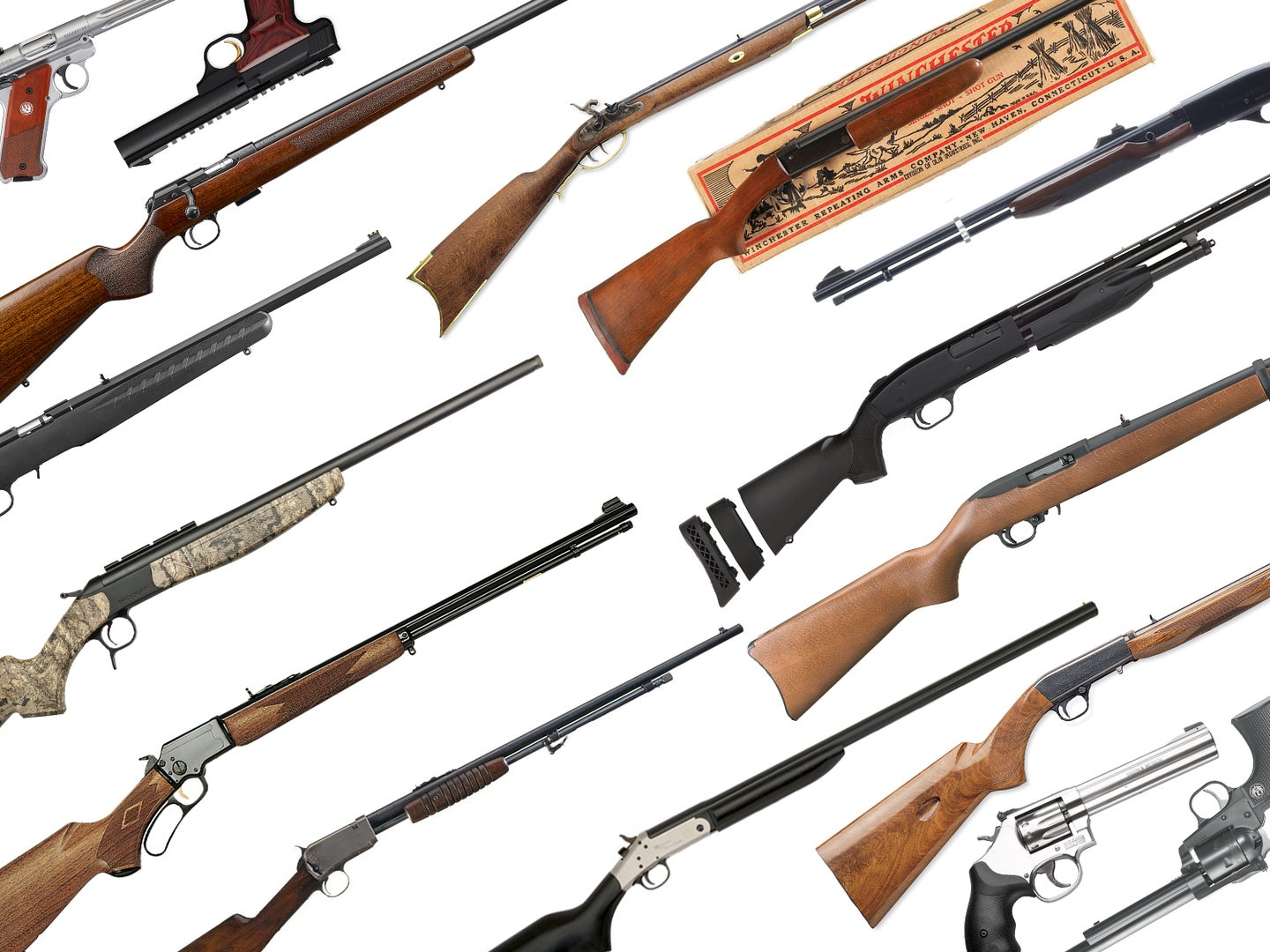 A collection of squirrel hunting rifles, shotguns, and handguns on a white background.