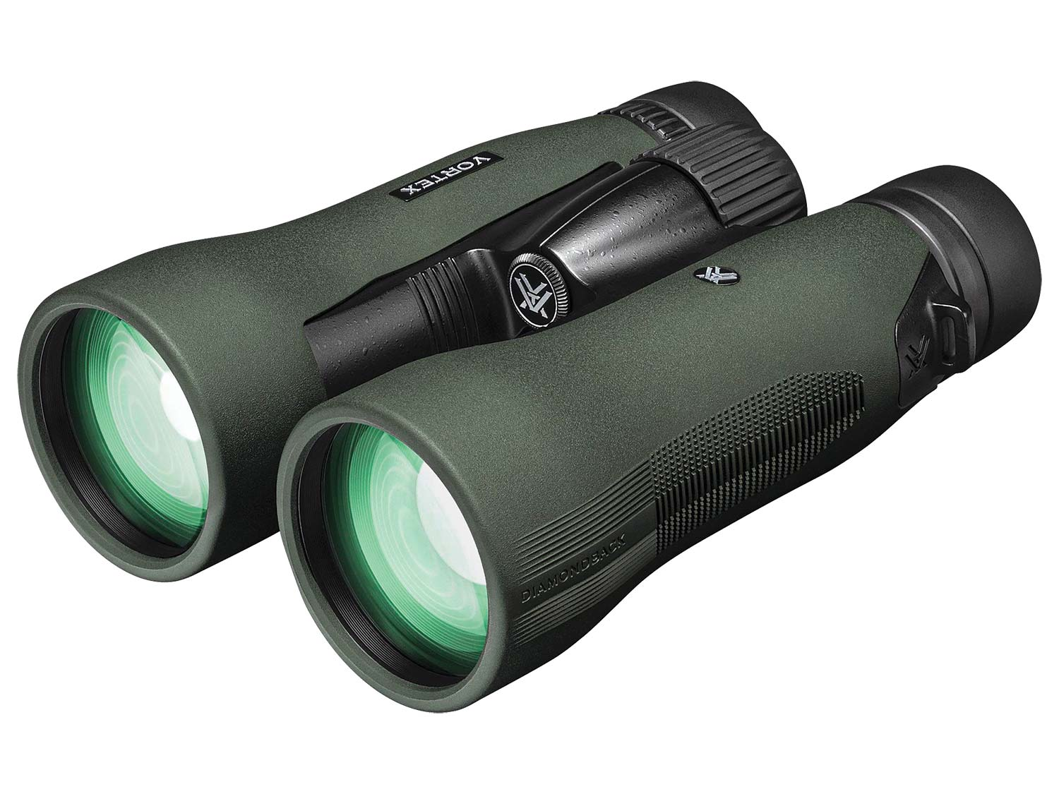 A pair of Vortex Diamondback green binoculars on a white background.