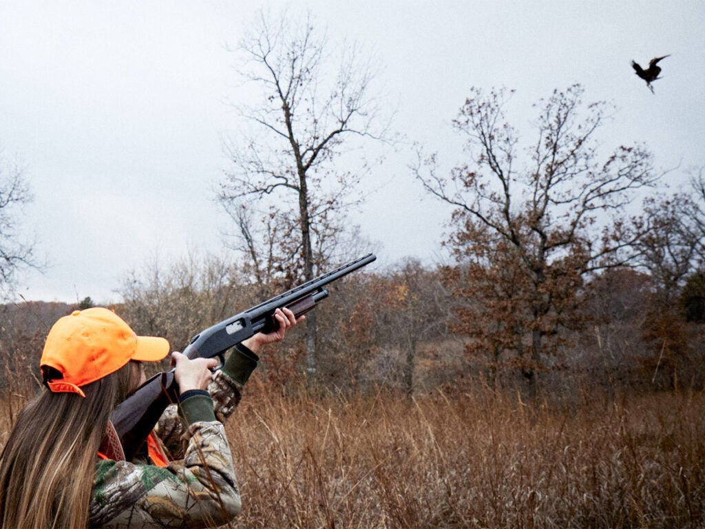 A woman hunter in camoflauge and an orange hat aims a shotgun at a pheasant in an open field.