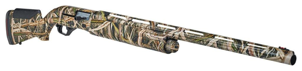 A Savage Renegauge shotgun in full camo print patterned on a white background.