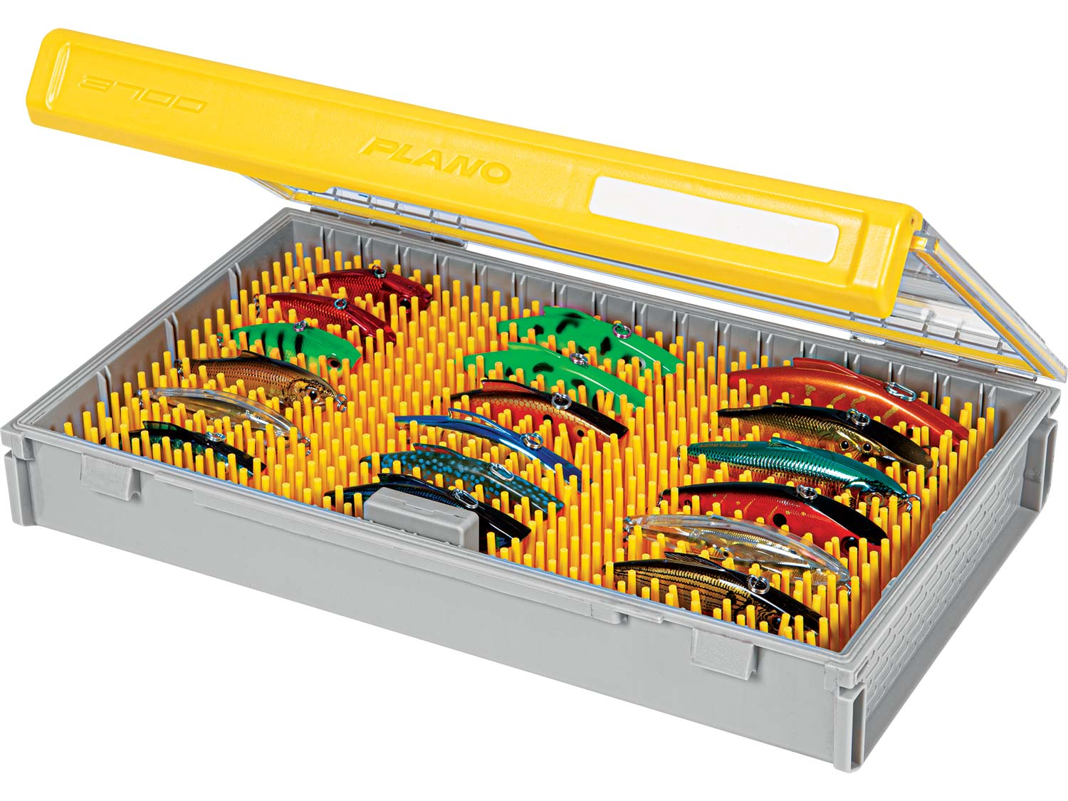 Plano Edge Tackle Boxes filled with fishing lures on a white background.