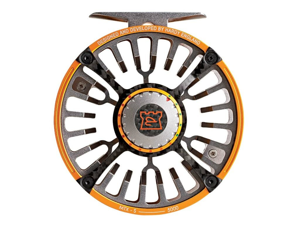 A Hardy Ultralight MTX-S Fly Reel in Orange annd Grey on a white background.