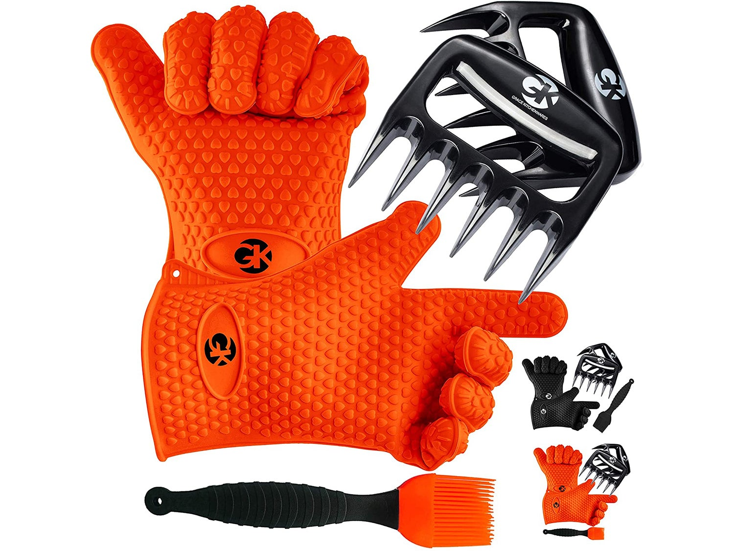 GK's 3 + 3 BBQ Man's Dream Set: Silicone BBQ Grill Gloves Plus Meat Shredder Claws Plus Silicone Basting Brush Plus 3 eBooks