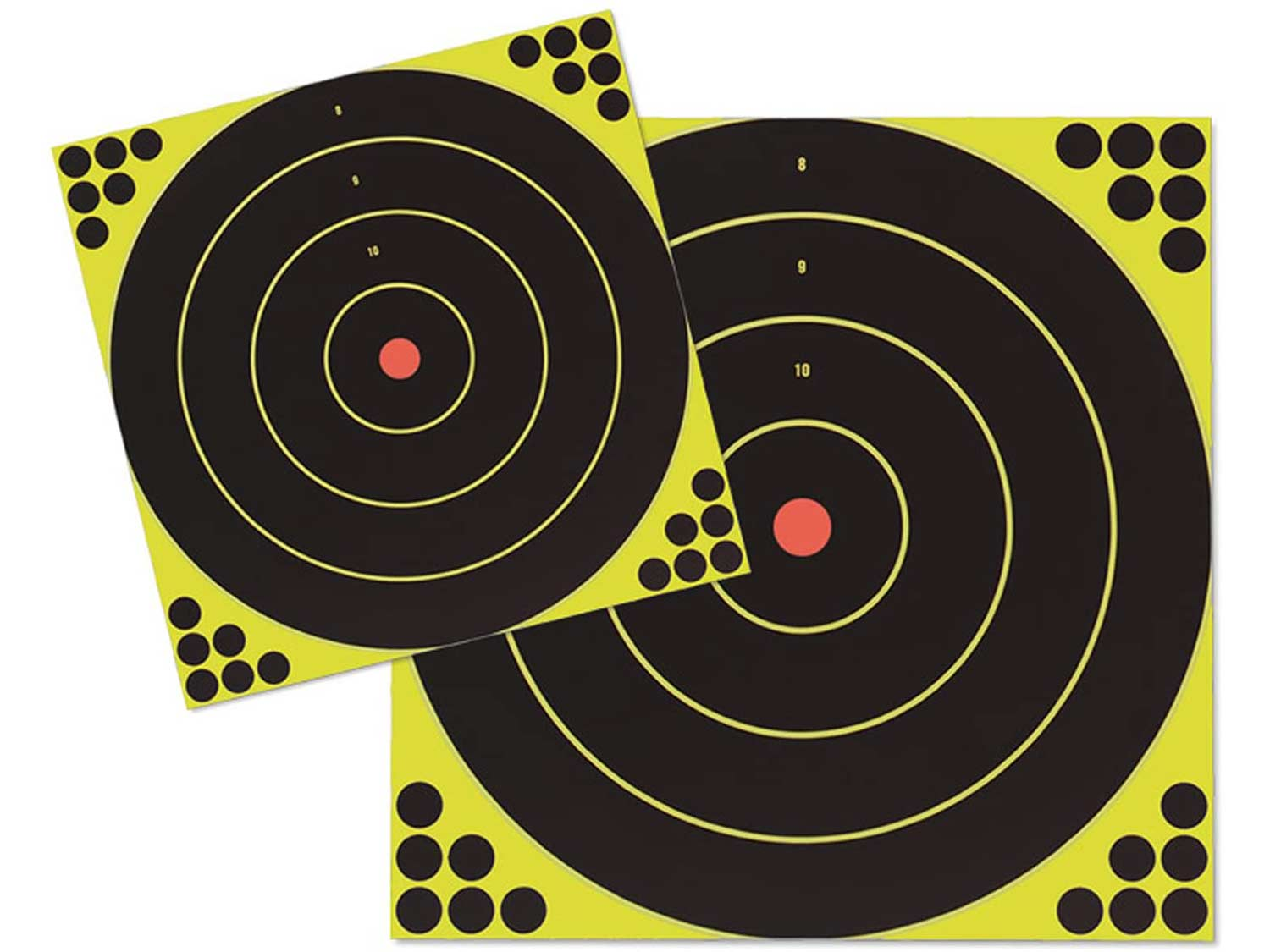 Two large birchwood casey targets used to measure shot groups.