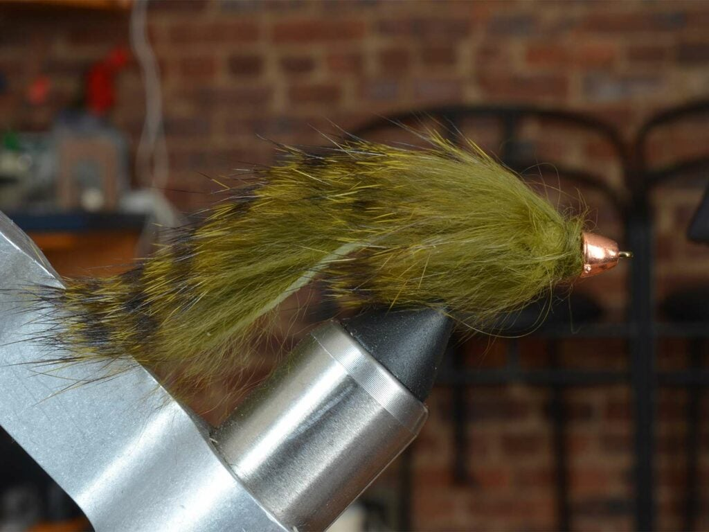 A green and brown striped fuzzy fly lure secured in a vice grip.