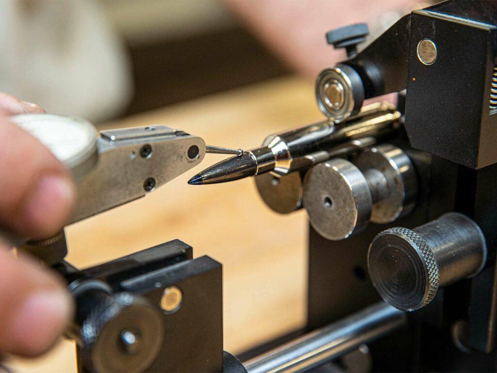 A handloading process with custom gun ammo crafting.