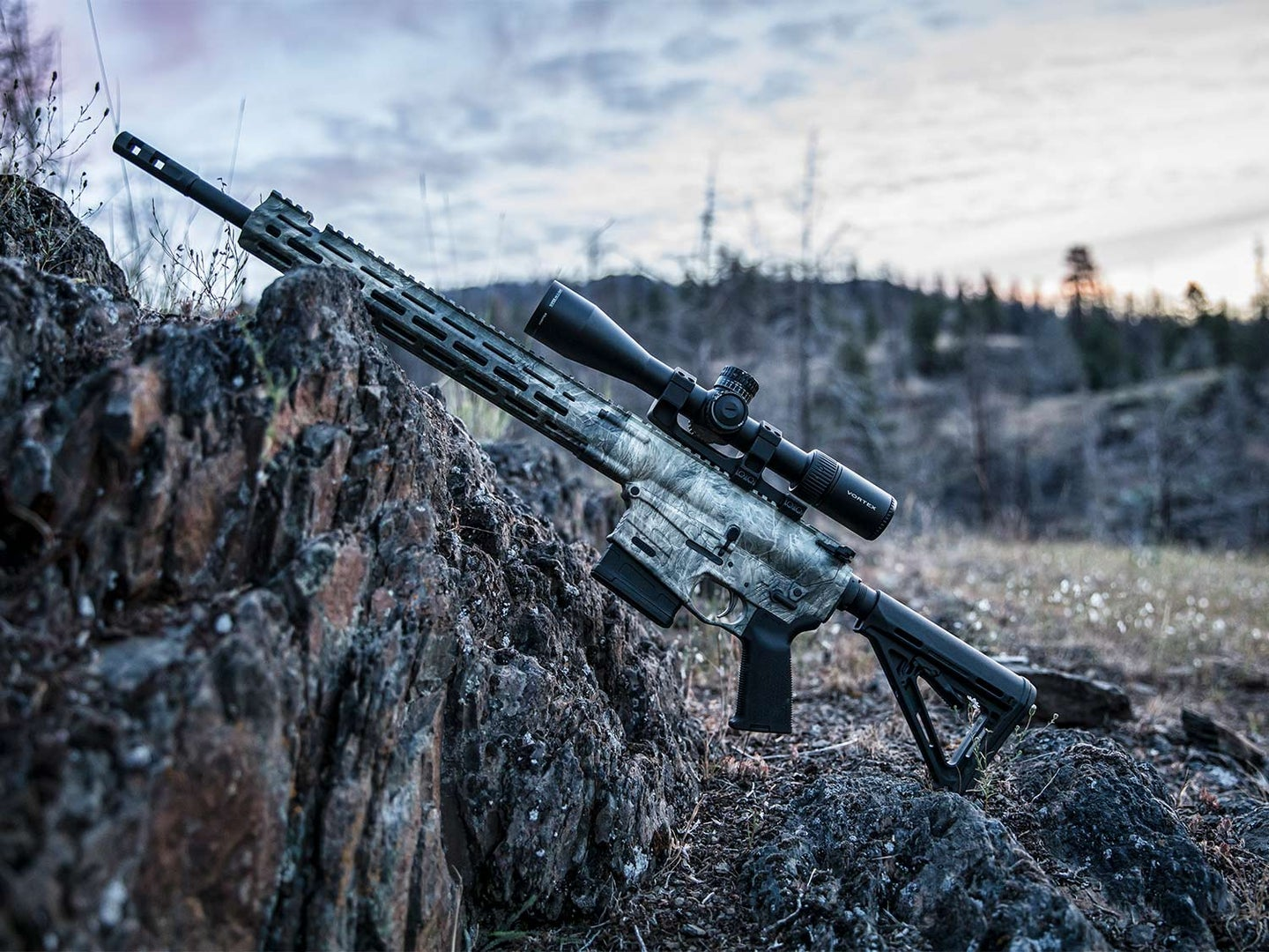 The Savage Arms MSR 10 Hunter Overwatch rifle leaning against a small rock formation in the wilderness.