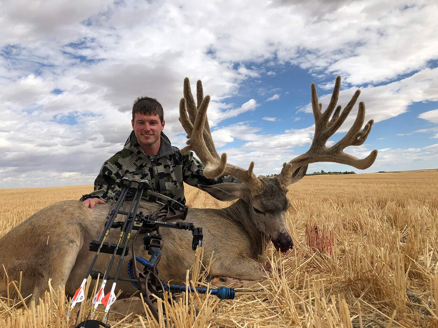 A hunter kneels behind a dead mule deer and holds up its head by the antlers.
