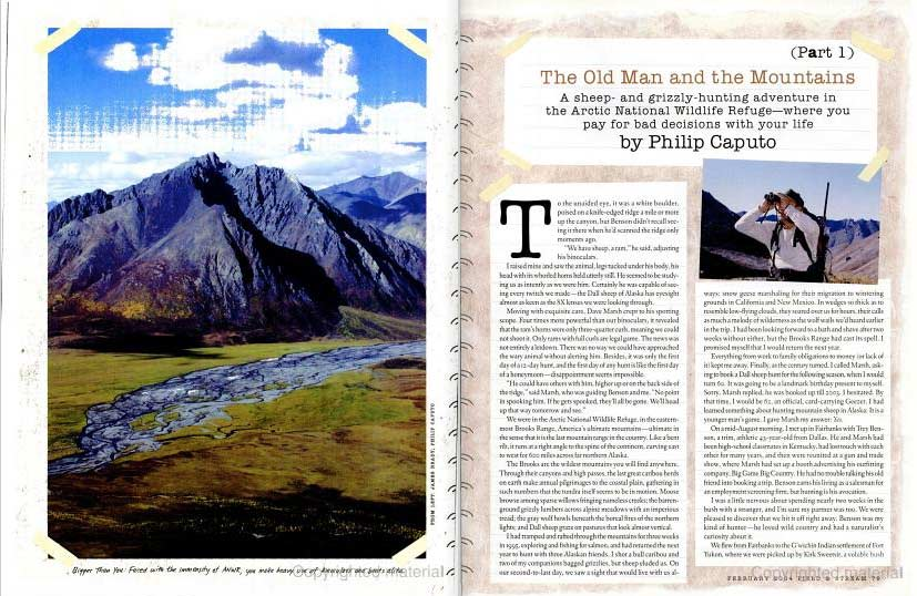 Article clipping from a Field & Stream magazine showing a photograph of a mountain scape.