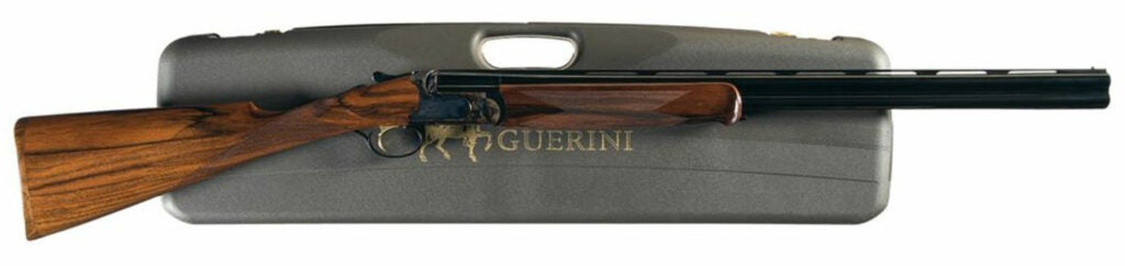 The Caesar Guerini Woodlander gun and carrying case on a white background.