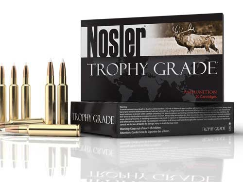 A Nosler Trophy Grade box of ammo on a white background.