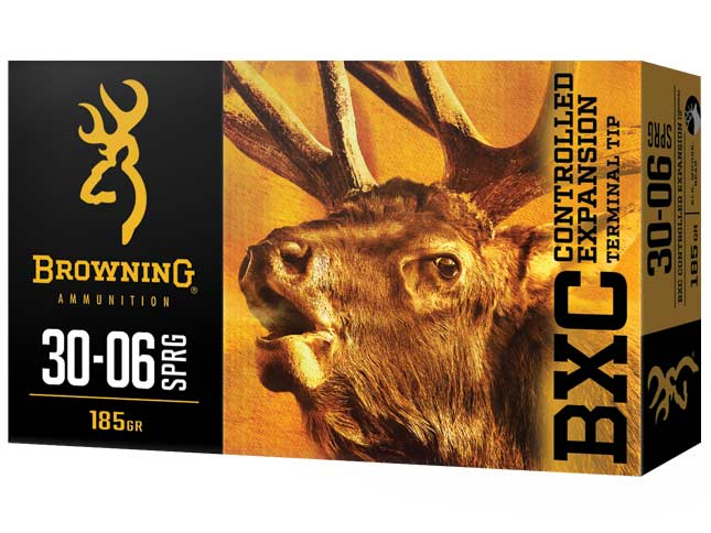 A Browning BXC box of ammo on a white background.