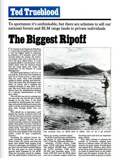 A clipping from an old Field & Stream magazine by Ted Trueblood on conservation.