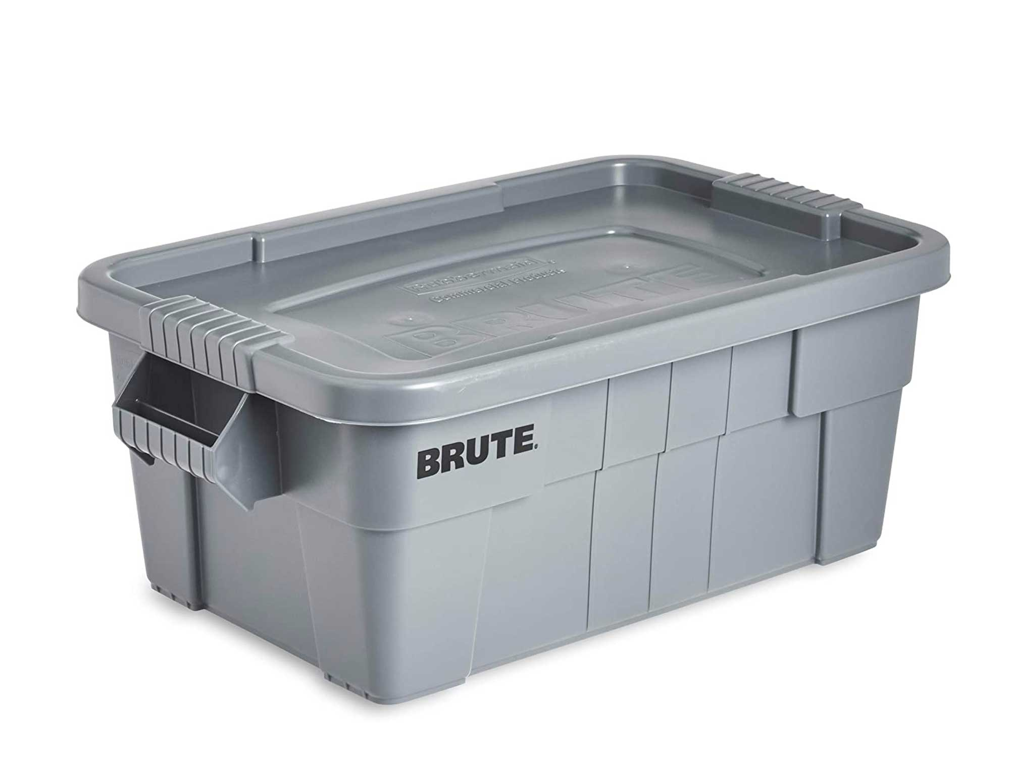 Rubbermaid Commercial Brute Tote Storage Bin With Lid, 14- Gallon, Gray