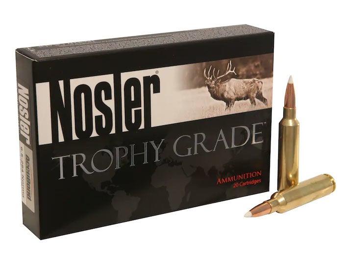A box of Nosler Trophy Grade ammunition
