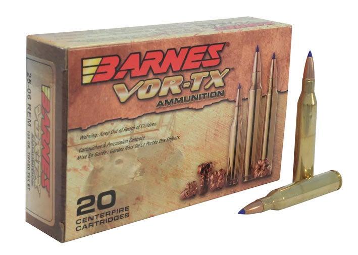 A box of Barnes VOR-TX rifle ammunition.