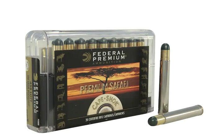 A box of Federal Premium safari ammunition.