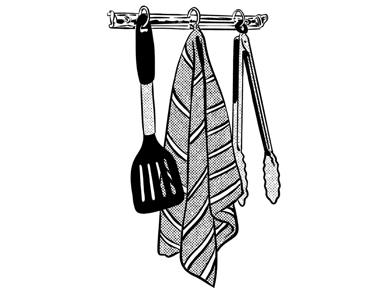 An illustration of kitchen utensils hanging on a rack.