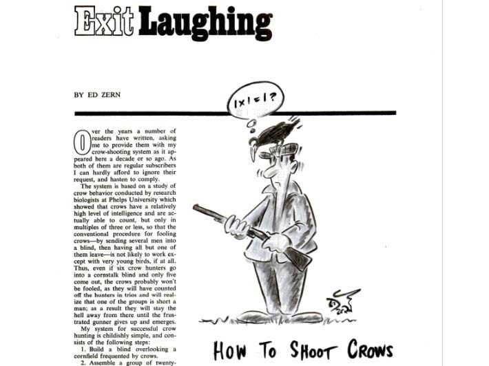A black and white illustration of a man hunting crows next to a magazine article of crow hunting tips.