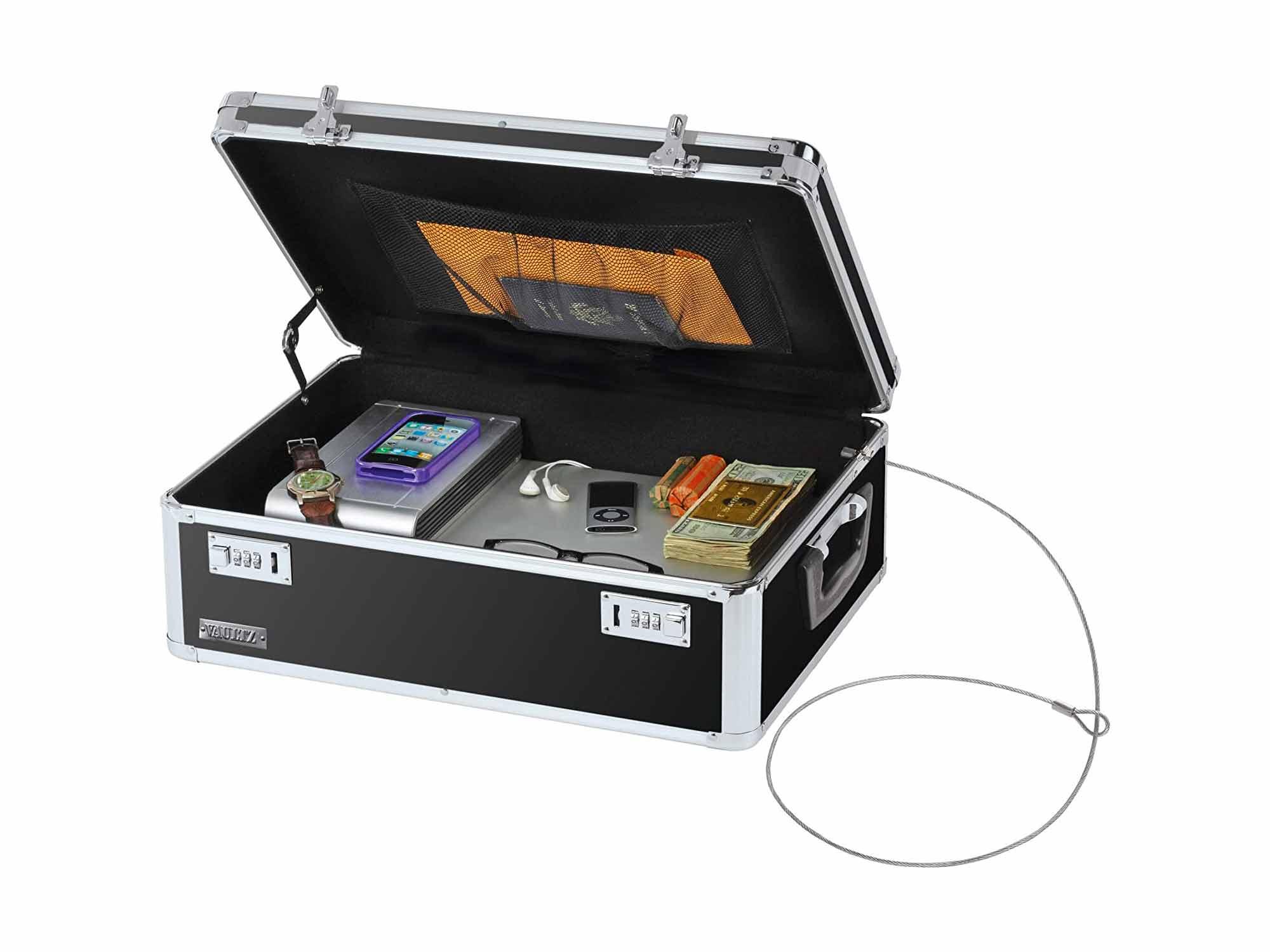 Vaultz Locking Storage Chest/Dorm Storage with Combination Locks, 6.5 x 19 x 13.5 Inches, Black