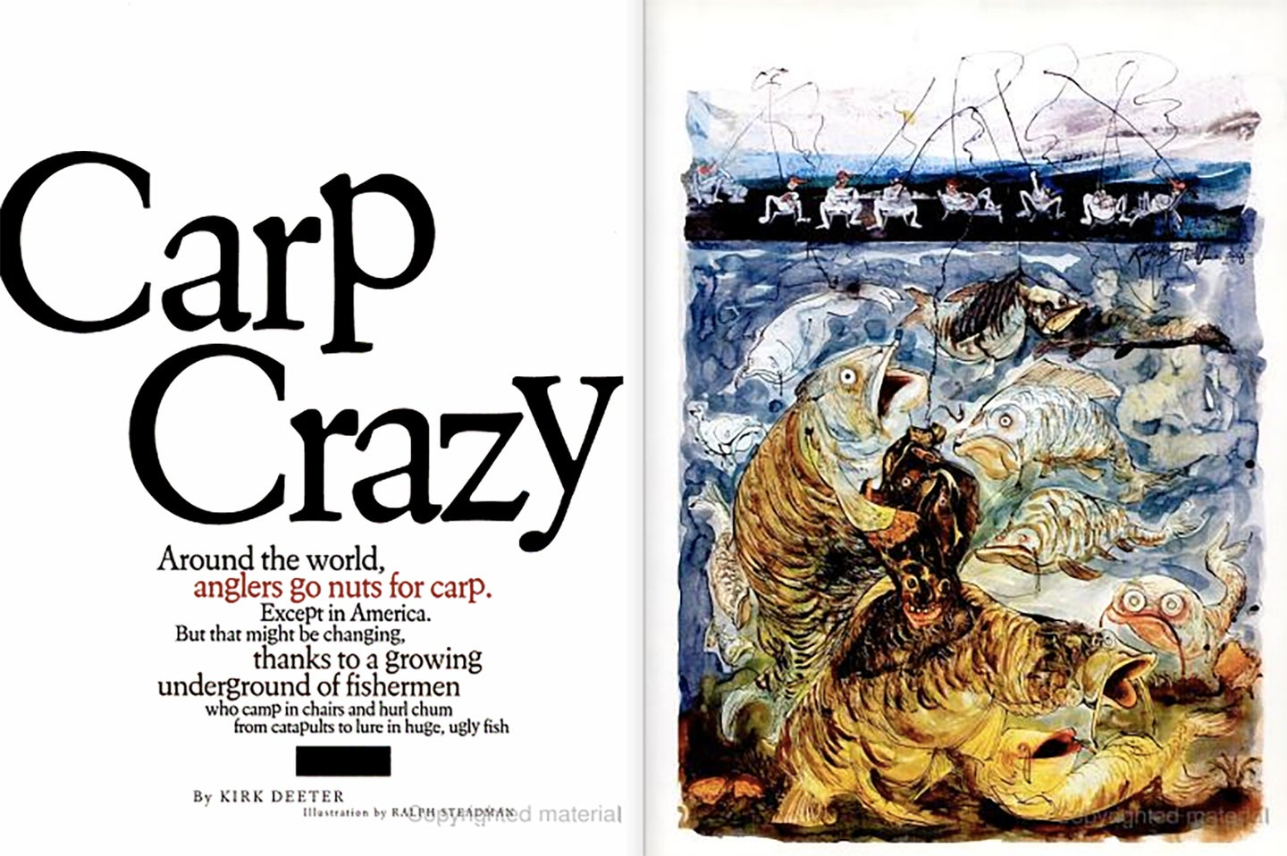 Clipping of an article from Field & Stream magazine showing an illustration of carp fishing.