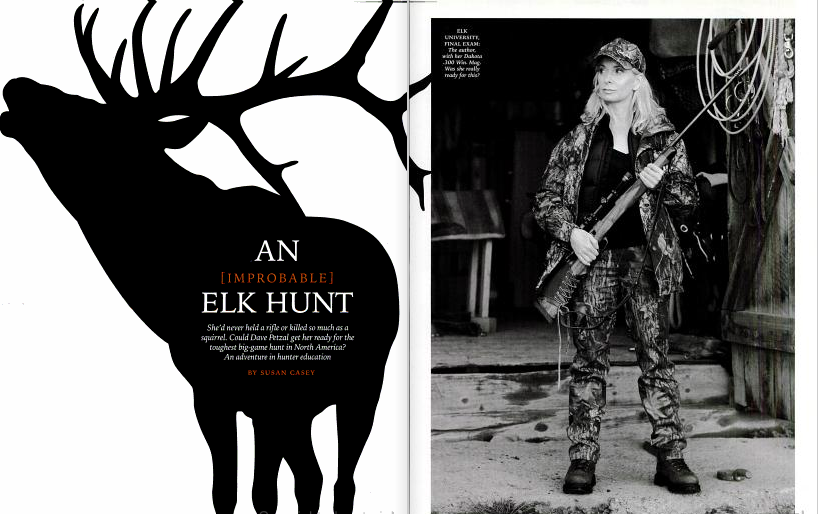 A clipping from field and stream magazine showing a female hunter next to the silhouette of an elk.