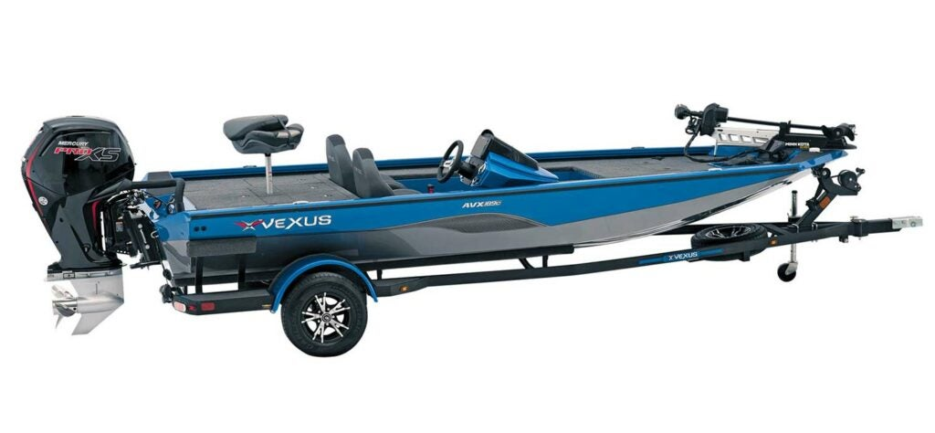 A Vexus AVX189 Crappie boat on a white background.