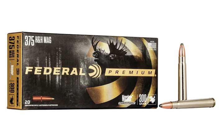 A box of Federal Premium 375 HH Mag ammunition.