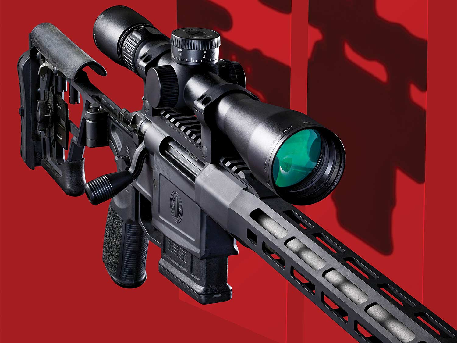 Vortex Razor HD LHT 3–15x42mm and the Sig Cross on a red background.