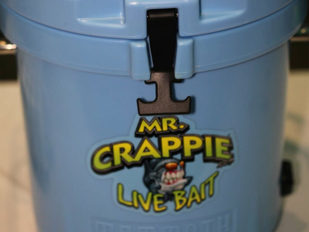 A close up image of a Mammoth Mr. Crappie Live Bait Bucket