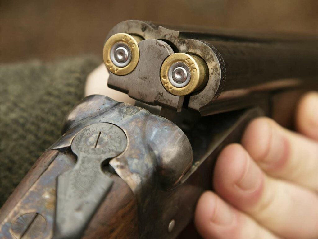 Close up detail of a side-by-side-shotgun