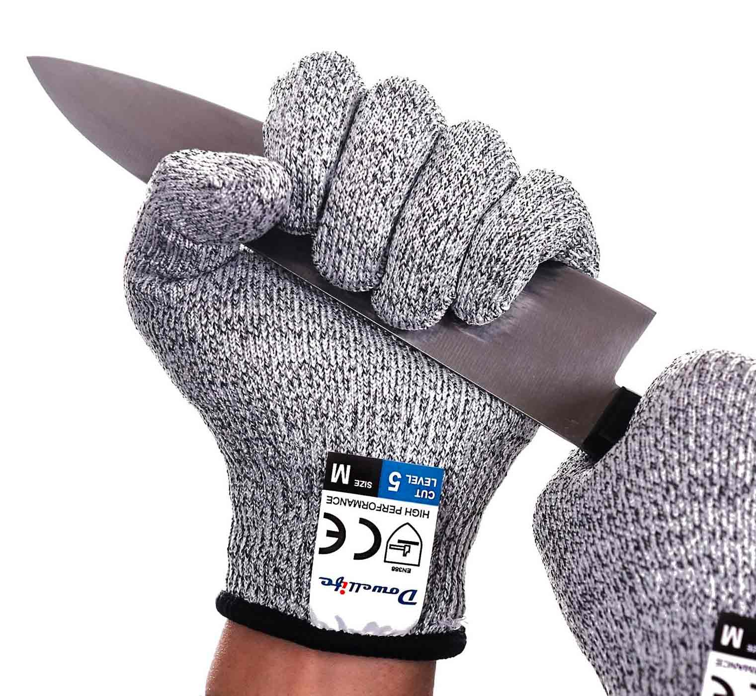 Dowellife Cut Resistant Gloves Food Grade Level 5 Protection, Safety Kitchen Cuts Gloves for Oyster Shucking, Fish Fillet Processing, Mandolin Slicing, Meat Cutting and Wood Carving, 1 Pair