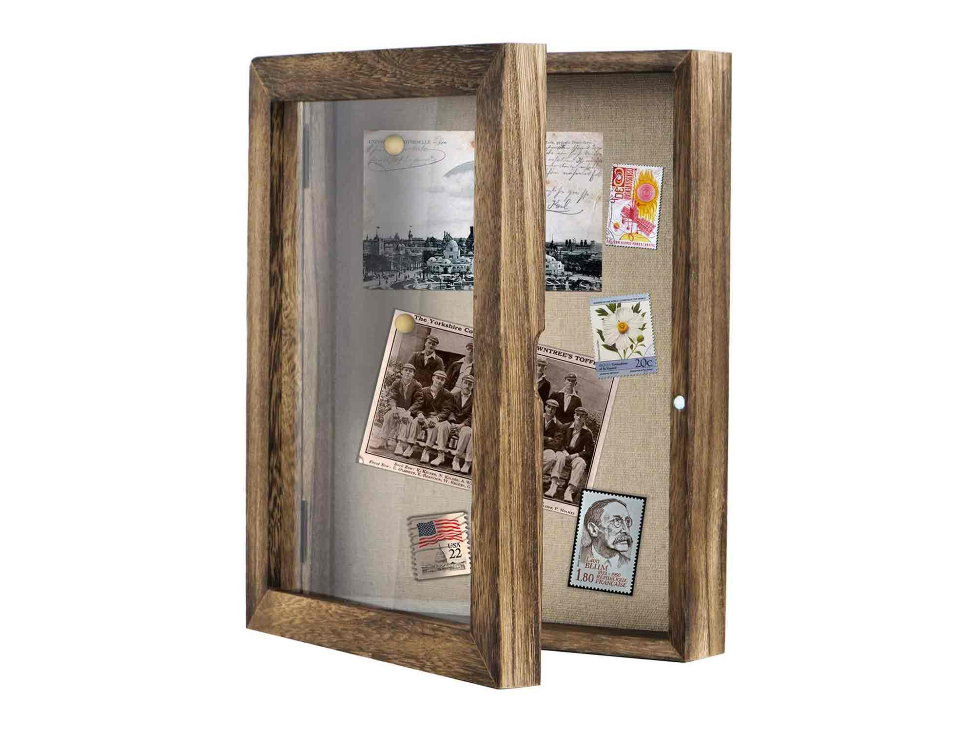 Love-KANKEI Shadow Box Frame 8x10 Shadow Box Display Case with Linen Back Memorabilia Awards Medals Photos Memory Box Carbonized Black/Brown