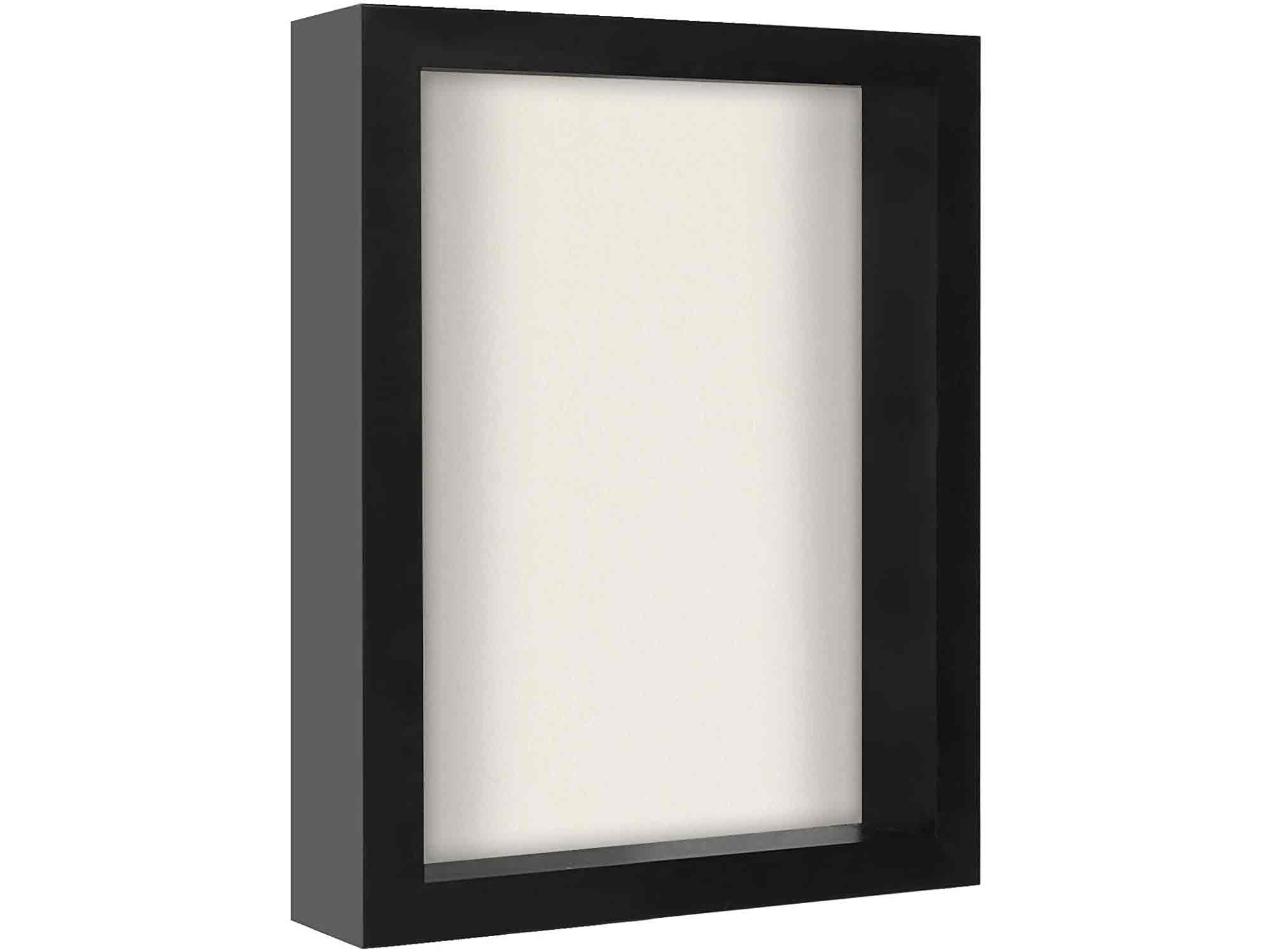 Americanflat 8x10 Shadow Box Frame in Black with Soft Linen Back - Composite Wood with Polished Glass for Wall and Tabletop
