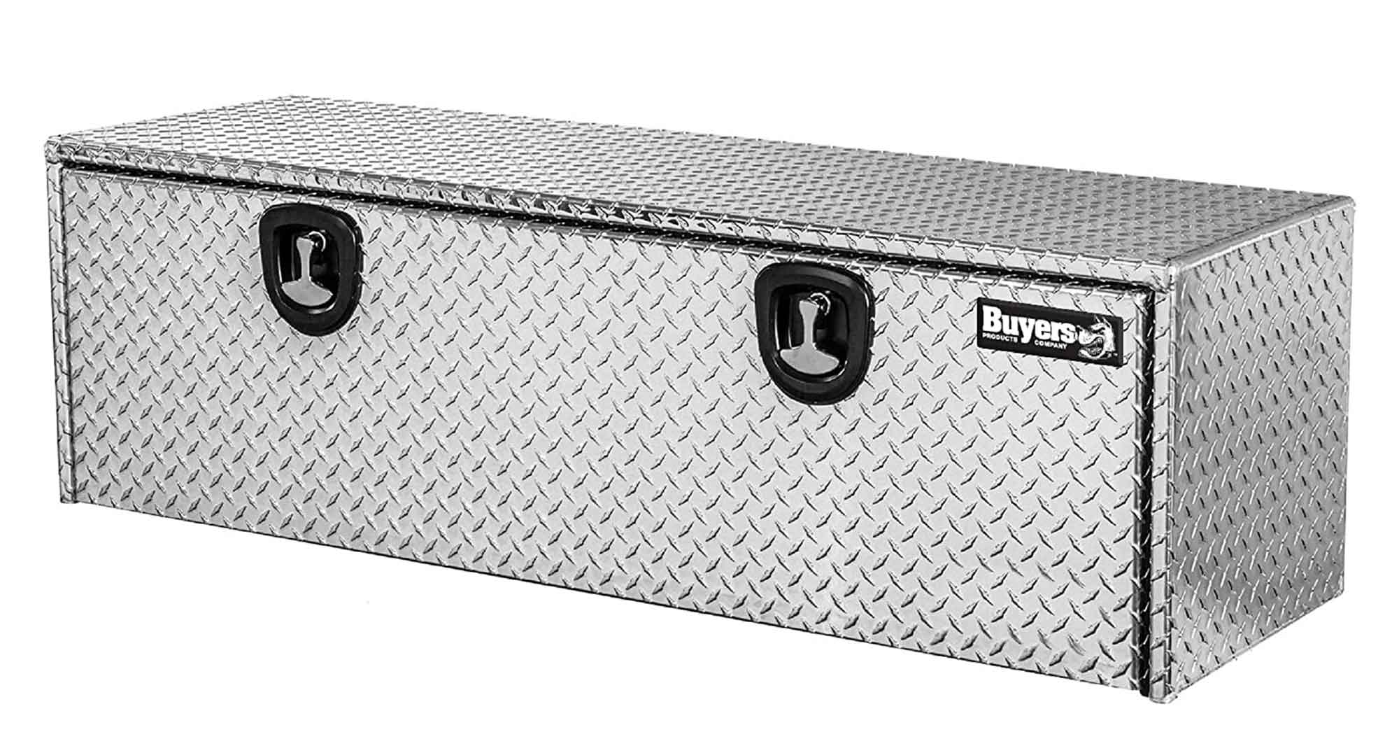 Buyers Products Diamond Tread Aluminum Underbody Truck Box w/ T-Handle Latch (18x18x60 Inch) , Silver