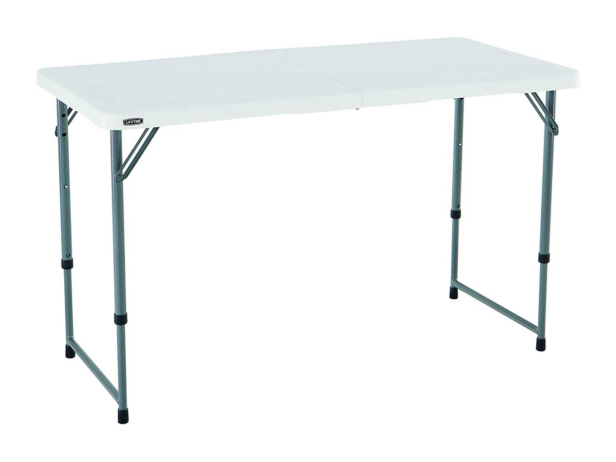 Lifetime Height Adjustable Craft Camping and Utility Folding Table, 4 ft, 4'/48 x 24, White Granite