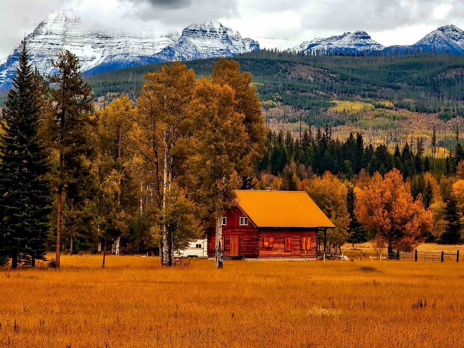 Cabin surrounded by autumnal foliage