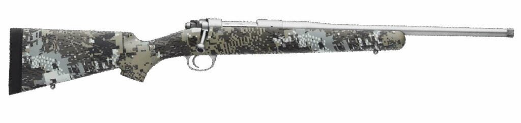 The Kimber Adirondack camo rifle on a white background.