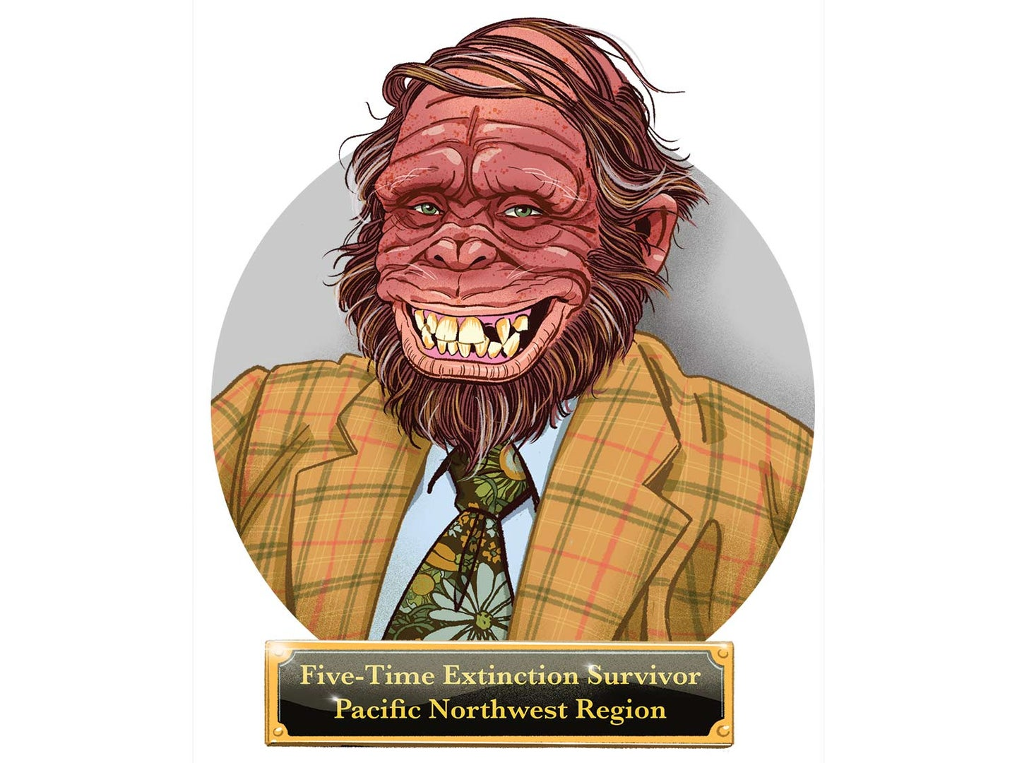 Illustration of a Sasquatch with a survival plaque.