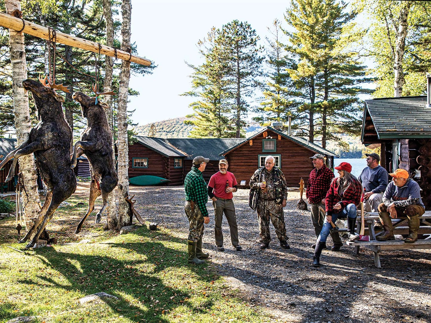 A group of hunter stand outside a hunting cabin with two moose hanging from a pole.