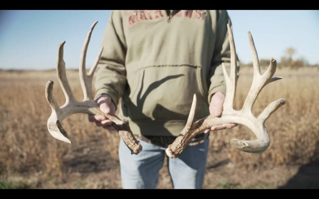 A hunter holds up two whitetail deer antlers.