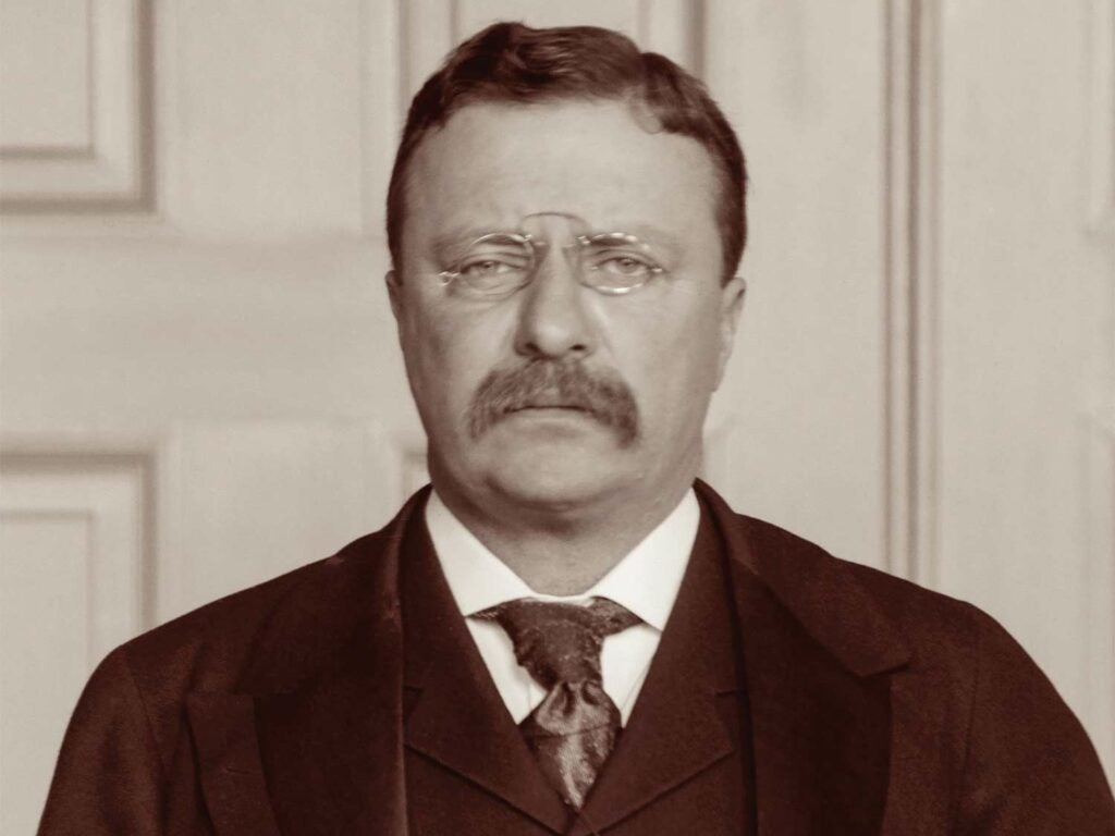 A black and white photo of President Roosevelt.