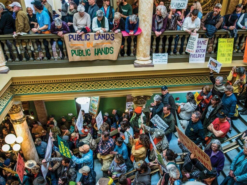 Groups of protestors for public lands.