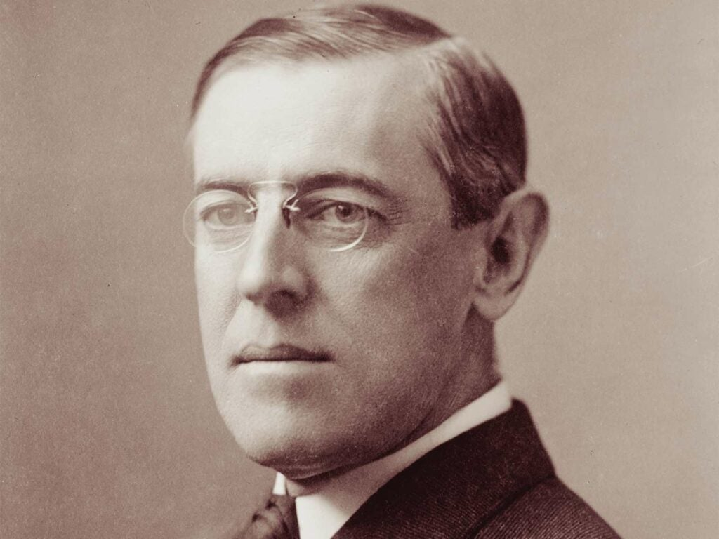 A black and white photo of Woodrow Wilson